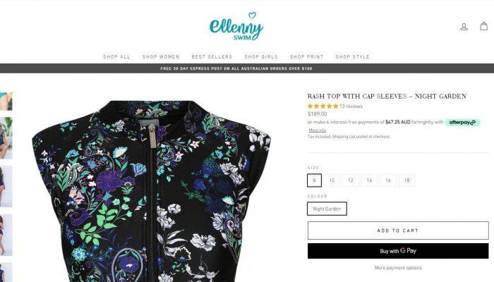 Ellenny Swim shopify website