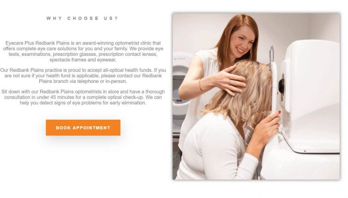 Eyecare Plus Redbank Plains WordPress website