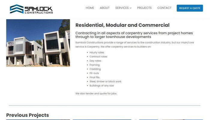 Samlock Construction website