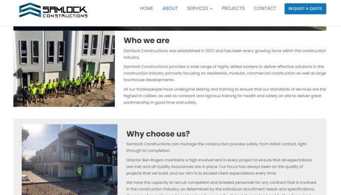 Samlock Construction WordPress Website